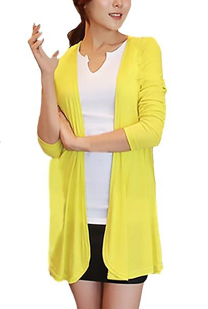 Cardigan Verano Mujer Elegantes Moda Manga Larga Slim Fit Proteccion Joven Bastante Solar Abrigos Vintage Irregular Color Sólido Beach Abrigo Casual Estilo ...