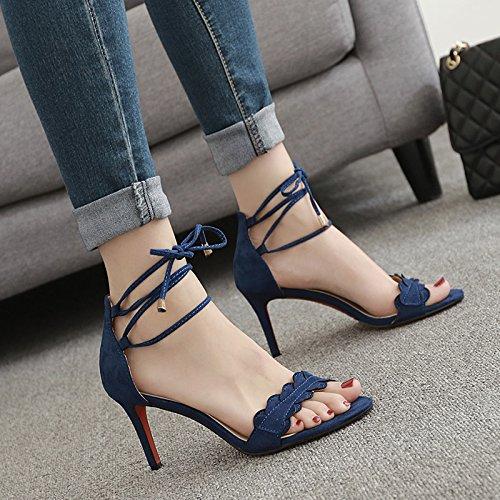 36 Los con sexy elegante correspondencia Sandalias Moda zapatos Transpirable Azul 37 Toda Tie Ajunr 7cm Fina talones la BqwaOgPn