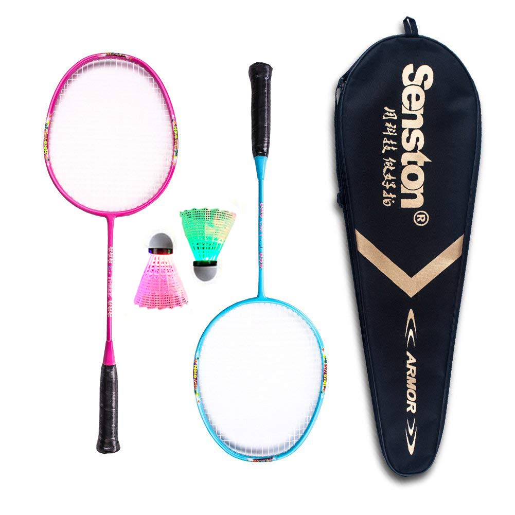Senston Graphite Mini Badminton Set Junior Badminton Racket Kit Outdoor Sport Game Set,Gifts for Kids - Red and White