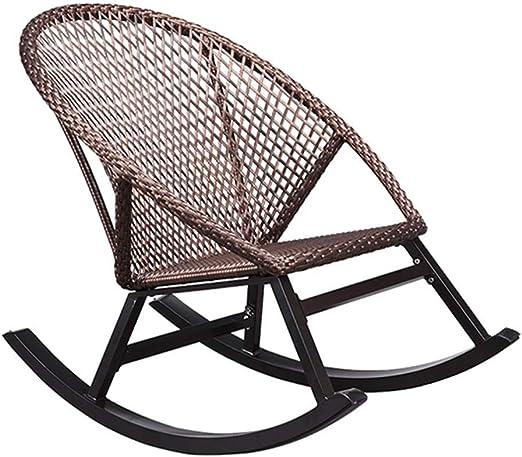 LYATW Cubierta Mecedora de Mimbre al Aire Libre Porche césped del jardín Mecedora de Mimbre, Ocio Sillón reclinable for Adultos: Amazon.es: Hogar
