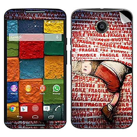 Theskinmantra Fragile Motorola Moto X2 mobile skin available at Amazon for Rs.349
