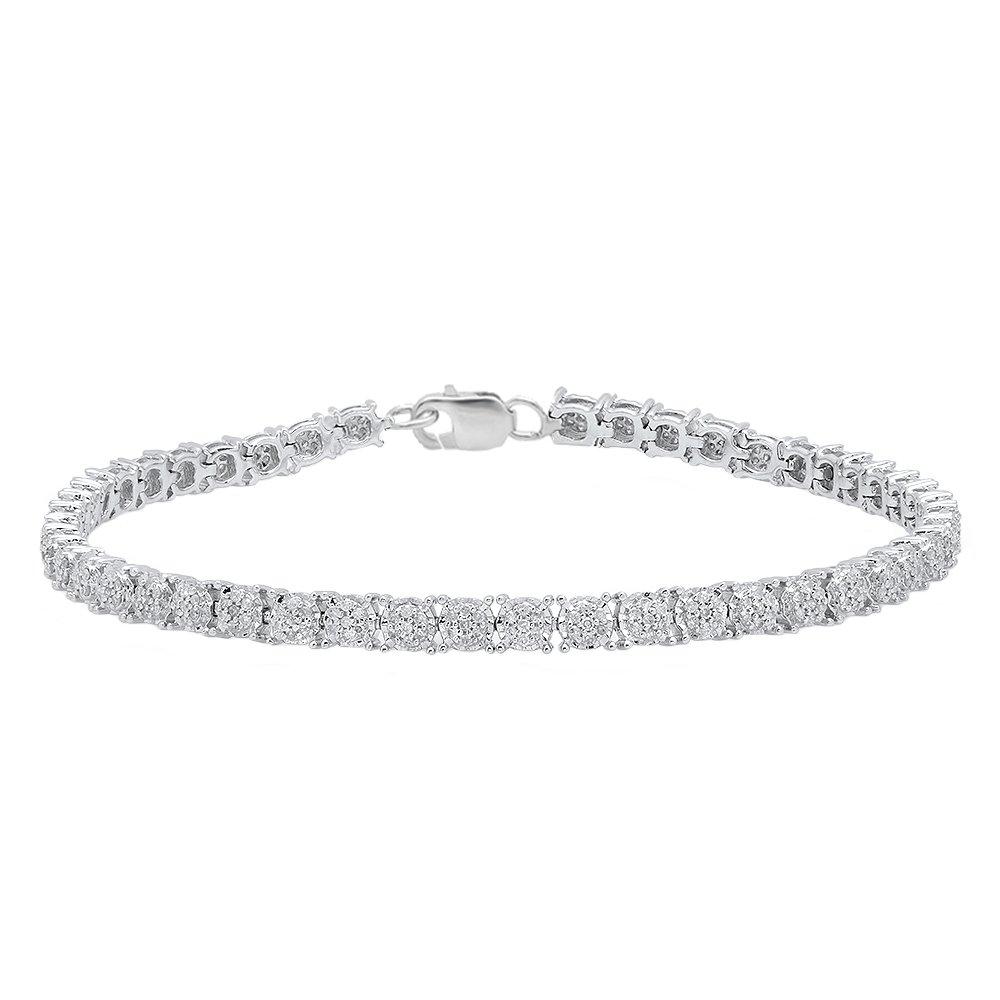 Dazzlingrock Collection 1.00 Carat (ctw) Round White Diamond Ladies Cluster Tennis Link Bracelet 1 CT, Sterling Silver