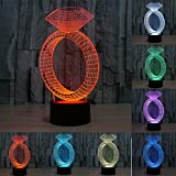 3D Diamond Ring Night Light Table Desk Optical Illusion Lamps 7 Color Changing Lights LED Table Lamp Xmas Home Love Brithday Children Kids Decor Toy Gift