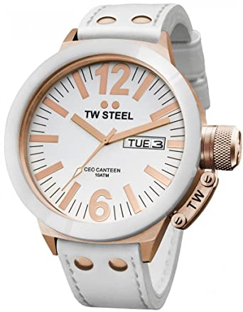 9e77dd3825d9 Amazon.com  TW Steel Men s CE1036 CEO Canteen White Leather Dial Watch  TW  Steel  Watches