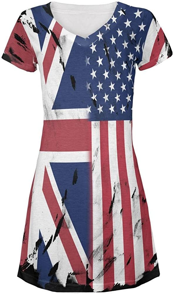 4th of July British UK American USA Flag All Over Juniors V-Neck Dress