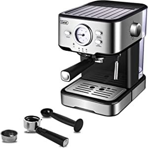 Gevi Espresso Machine 15 Bar Coffee Machine with Foaming Milk Frother Wand for Espresso, Cappuccino, Latte and Mocha, Steam Espresso Maker For Home Barista, Adjustable Milk Frothing and Double Temperature Control System, Stainless Steel, 1100W