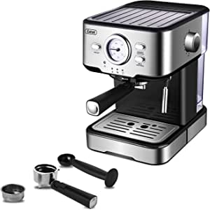 Espresso Machines 15 Bar Fast Heating Coffee Machine with Milk Frother for Espresso, Cappuccino, Latte and Mocha, 1.5L Removable Water Tank, Double Temperature Control System, Stainless Steel, 1350W
