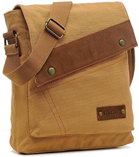 UIUIUS Vintage Small Canvas Messenger Bags Crossbody Shoulder iPad Bags Sling Bag for Men Women MB0002K1 Khaki