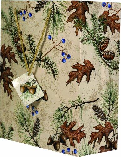 River's Edge Acorn and Pines Design Gift Bag, Medium/10x13x5-Inch