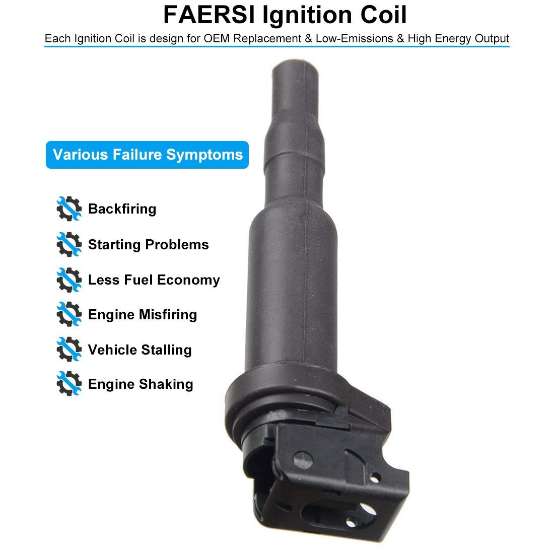 FAERSI Ignition Coil Pack of 1 Replaces OE# 0221504470 for BMW 325i 325Ci  328i 330Ci 335i 525i 528i 530i 535i 545i 745Li X3 X5 M5 M6 Z4 & More - 2 Yr