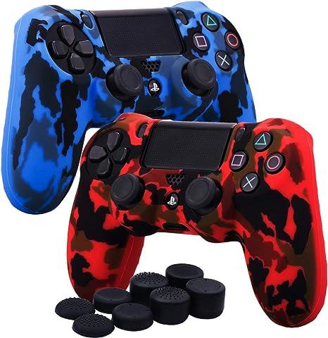 YoRHa Transferencia de agua camuflaje de impresión silicona caso piel Fundas protectores cubierta para Sony PS4/slim/Pro Mando x 2(rojo + azul) Con PRO los puños pulgar thumb gripsx 8: Amazon.es: Videojuegos