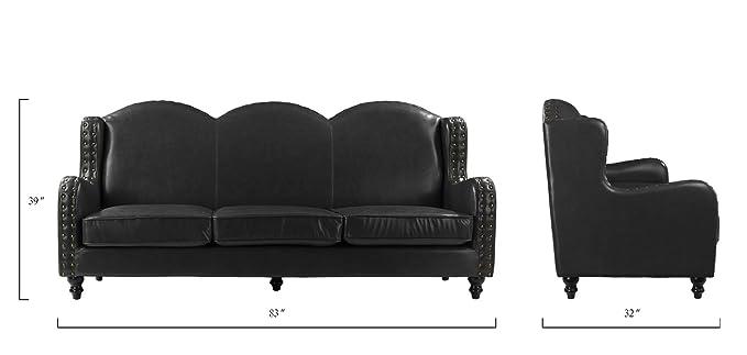 Amazon.com: Sofá de 3 plazas de piel auténtica, sofá de ...