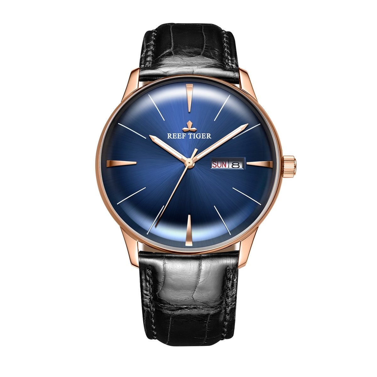 Reef Tiger Luxury Simple Watchesアナログ自動ブルーダイヤルWatches with Date Day rga8238 RGA8238-PLB B07D4BJ29R RGA8238-PLB RGA8238PLB