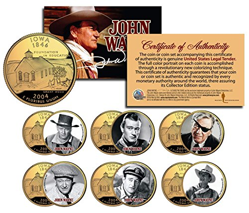 JOHN WAYNE MOVIES 24K Gold Plated Iowa Quarters 6-Coin Set OFFICIALLY LICENSED Stagecoach
