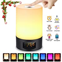 Alarm Clock Wake Up Light SOLMORE LED Bedside Lamp Night Light 3 Modes Color Changing 6 Nature Sounds Adjustable Brightness Sunrise Function Touch Control Best Gift for Children Kids Bedroom USB