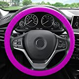 FH Group FH3002HOT PINK Hot Pink Steering Wheel Cover (Silicone W. Nibs & Pattern Massaging grip Wheel Cover Color -Fit Most Car Truck Suv or Van)