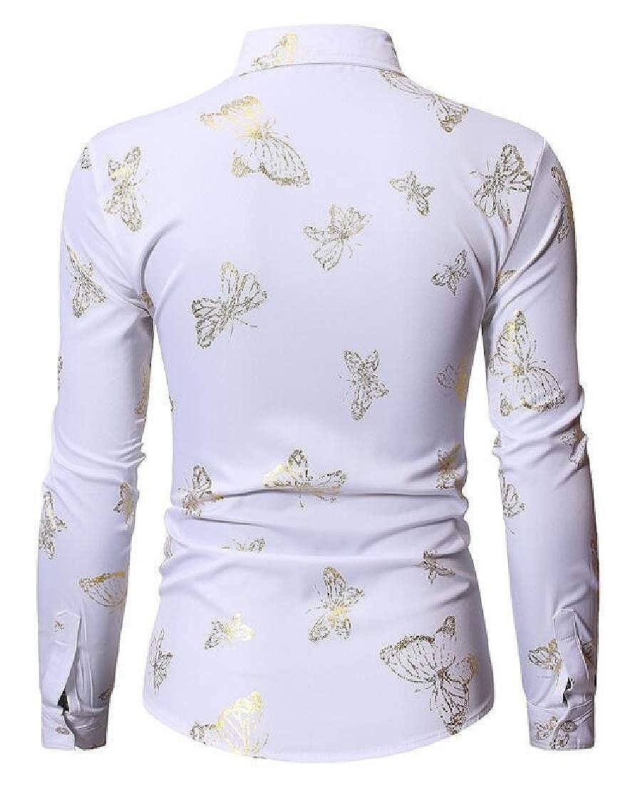 YYear Men Casual Business Lapel Printed Regular Fit Long Sleeve Button Up Dress Work Shirt