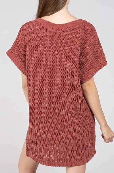 POL CLOTHING INC Short Sleeve Chenille Sweater Popcorn Sweater