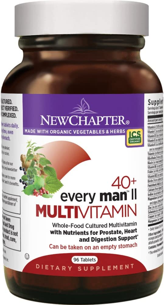 New Chapter Men s Multivitamin, Every Man II 40 , Fermented with Probiotics Selenium B Vitamins Vitamin D3 Organic Non-GMO Ingredients – 96 ct