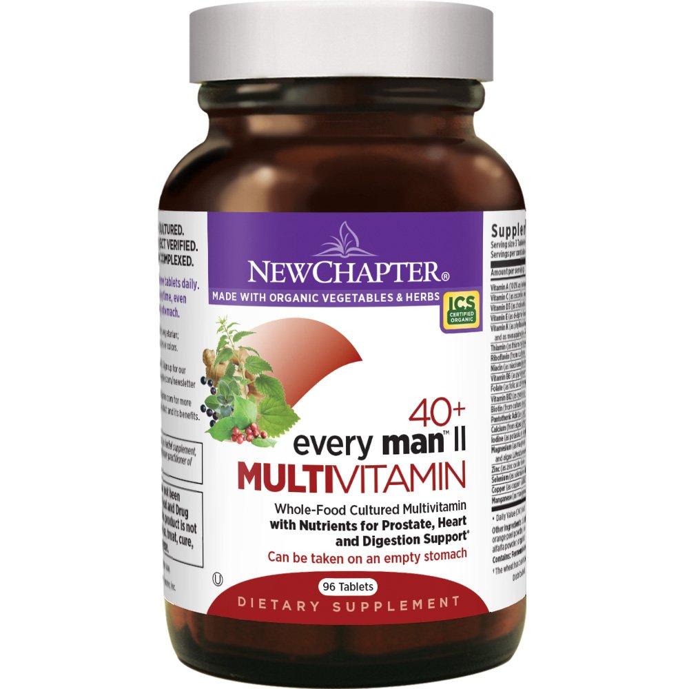 New Chapter Men's Multivitamin, Every Man II 40+, Fermented with Probiotics + Selenium + B Vitamins + Vitamin D3 + Organic Non-GMO Ingredients - 96 ct