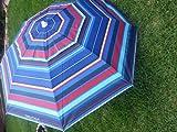 Nautica 7' Beach Umbrella with Wind Vent - Blue Stripe