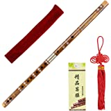 Horse Bamboo Flute Dizi for Beginners Kids with free Membrane Glue Traditional Handmade Chinese Musical Instrument (D Key)