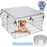 """EXPAWLORER Double Side Dog Playpen Cover- Sun-Proof & Water-Proof Top Kennel Cover for Outdoor and Indoor Fits 24"""" Crate with"""