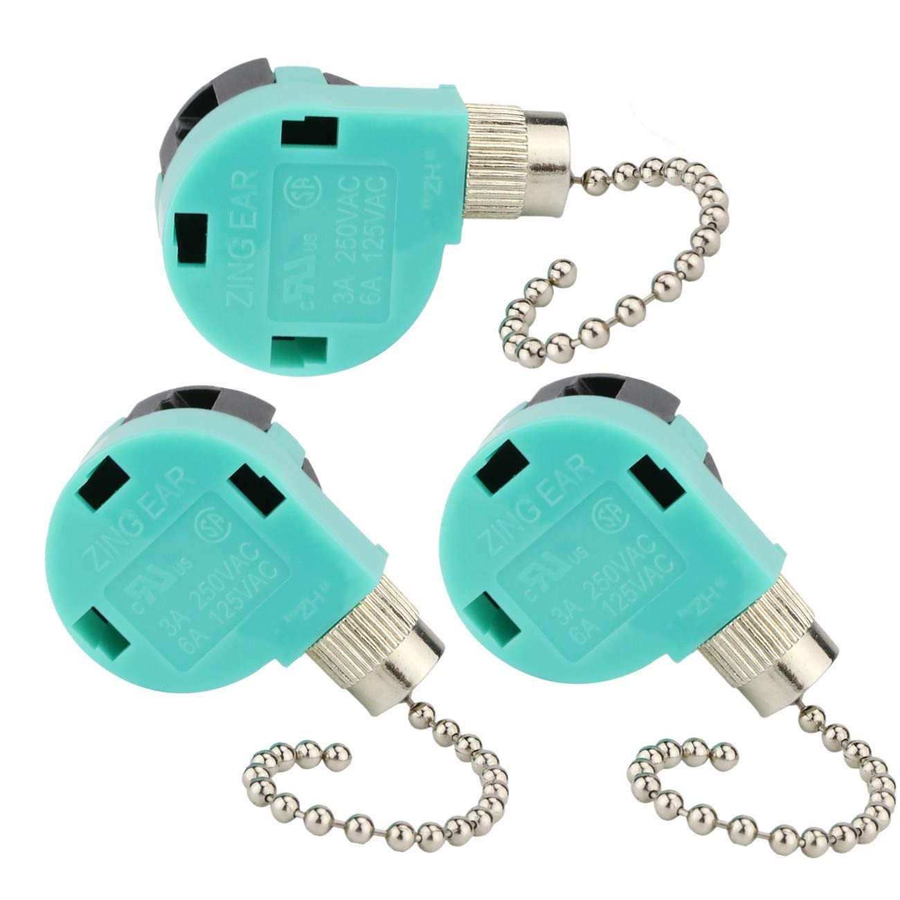 Zing Ear Ceiling Fan Switch 3PACK ZE-268S6, Switch 3 Speed 4 Wire Pull Chain Control Ceiling Fan Replacement Speed Control Switch by Dayone