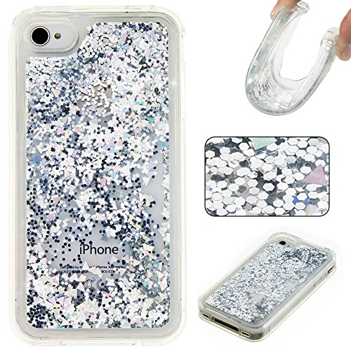 Rosepark iPhone 4S Case, iPhone 4 Case, 3D Creative Design Luxury Bling Glitter Sparkle Liquid Glitter and Stars Moving Quicksand TPU Case for iPhone 4/4S(Silver)
