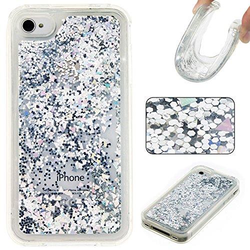Stars Silver Design Case (Rosepark iPhone 4S Case, iPhone 4 Case, 3D Creative Design Luxury Bling Glitter Sparkle Liquid Glitter and Stars Moving Quicksand TPU Case for iPhone 4/4S(Silver))