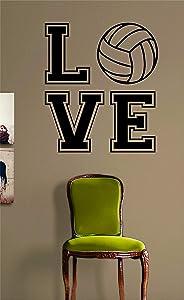 Love Volleyball V2 Original Wall Decal Sticker Bedroom Home Room Art Vinyl Inspirational Decor Teen Motivational Boy Girl Sports Beach Summer Net Spike Volley Ball