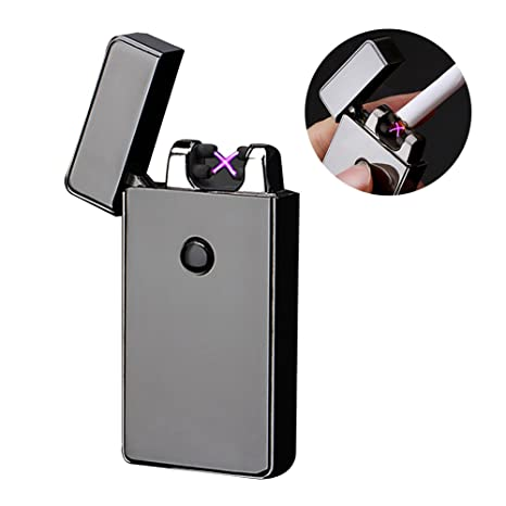 Encendedor Electrico, Mechero Eléctrico de Doble Arco Encendedor USB Mechero resistente al viento Encendedor Recargable