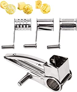 Rotary Cheese Grater - LOVKITCHEN Vegetable Stainless Steel Cheese Grater Shredder Cutter Grinder with 3 Drum Blades (Silver)