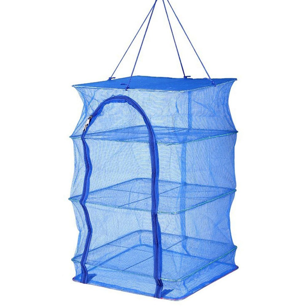 Cutogain Foldable 4 Layers Drying Fishing Net Rack Hanging Vegetable Fish Dishes Dryer PE Hanger Fish Net