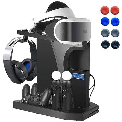 Playstation Soporte Vertical, PSVR Auriculares Headset Stand, Ventilador de Refrigeración, Estación de Carga