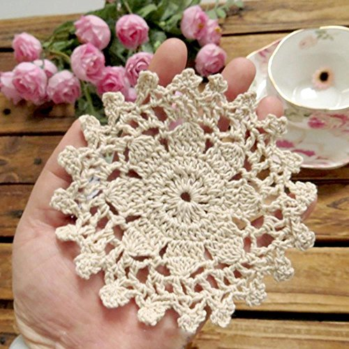 Gracebuy Pack of 8PCS Beige 4 Inch Round HANDMADE Crochet Lace Placemats Coasters