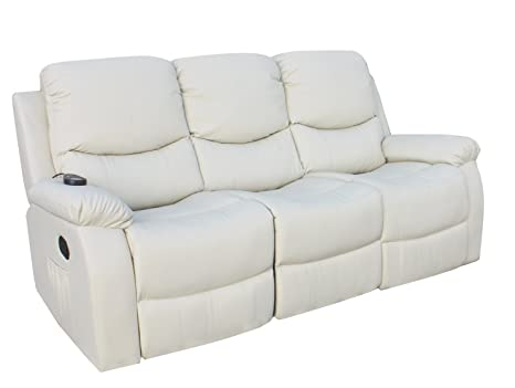 ECO-DE Sofa 3 plazas beige con masaje , reclinable, programable, 8 vibromotores