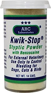 ARC Laboratories Kwik-Stop Styptic Powder for Dogs, Cats, and Birds, 14 g