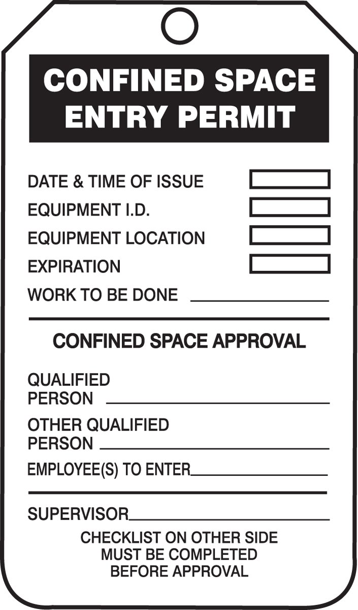 Accuform Signs TCS319PTP Confined Space Status Tag, Legend CONFINED SPACE ENTRY PERMIT/CHECKLIST, 5.75 Length x 3.25 Width x 0.015 Thickness, RP-Plastic, Black on White (Pack of 25) by Accuform  B00CBNDSU8