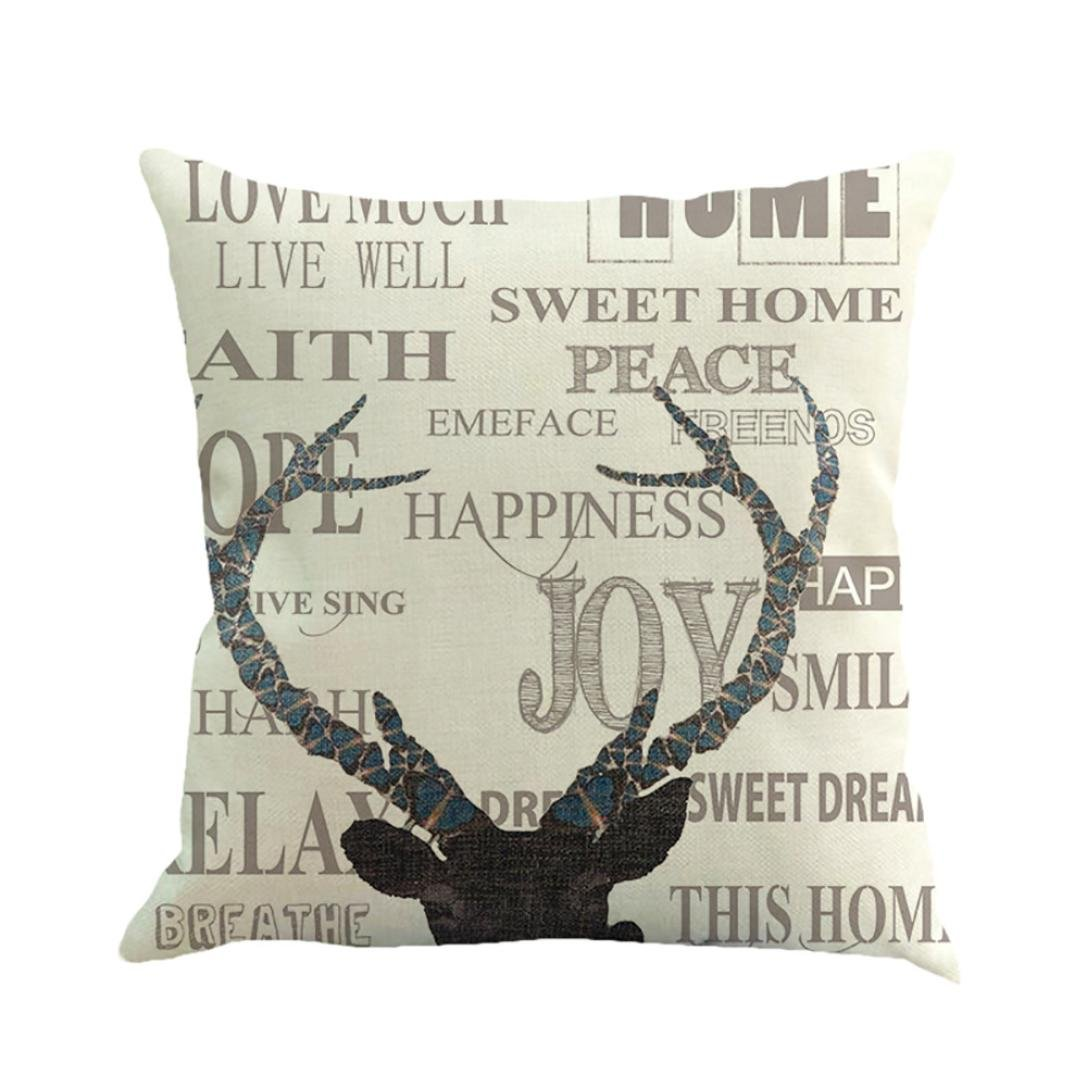 Pillow Case,FeiXiang♈ 2017 Christmas Printing Dyeing Sofa Bed Home Decor Square Pillow Cover Cushion Cover 45cm*45cm/18
