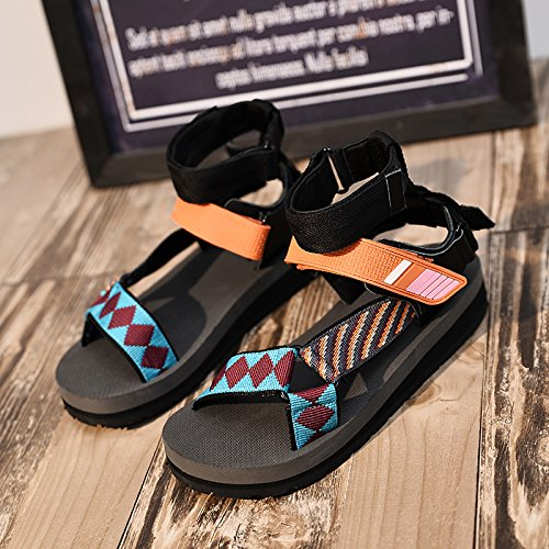 Xing Lin Ladies Sandals Summer New Beach Sandals Women Thick At The End Velcro Women'S Shoes Tide Orange belt 2nJH5y