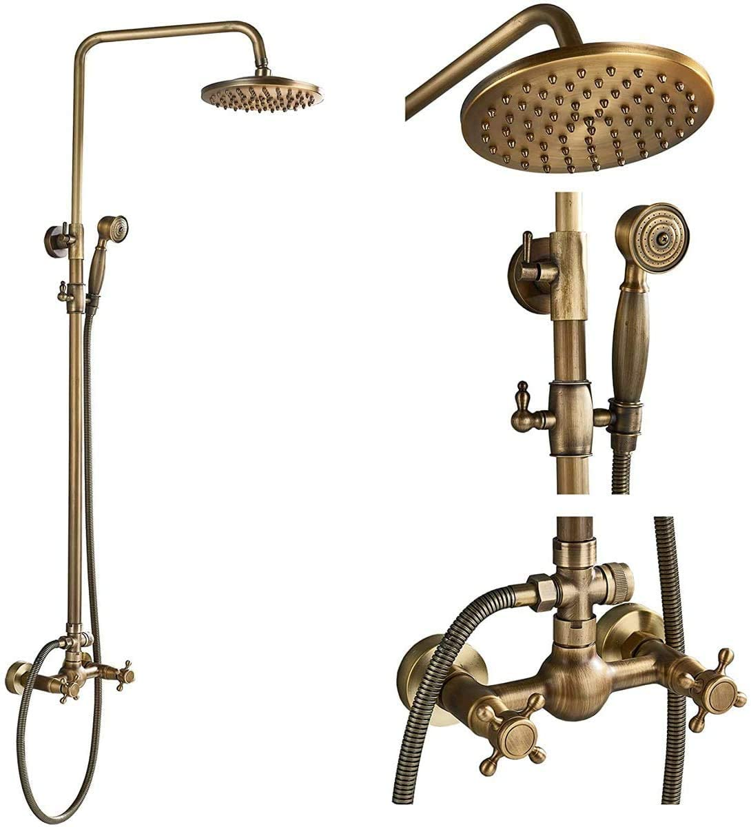 NeierThodore Antique Brass Bathroom Shower Faucet System Set 8 Inch Rainfall Shower Head Handheld Spray 2 Knobs Mixing