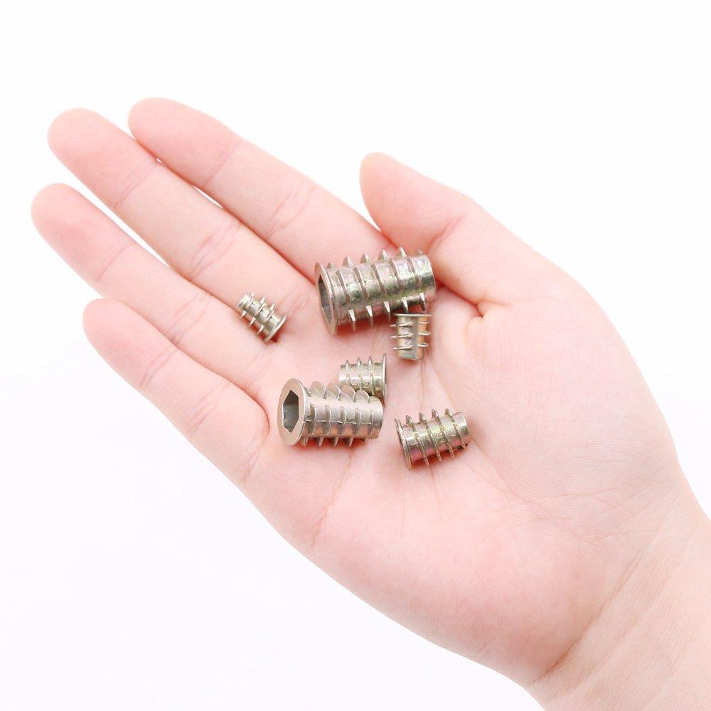 Glarks 80Pcs 6 Size Zinc Alloy Hex Socket Threaded Insert Nuts Assortment Kit for Wood Furniture