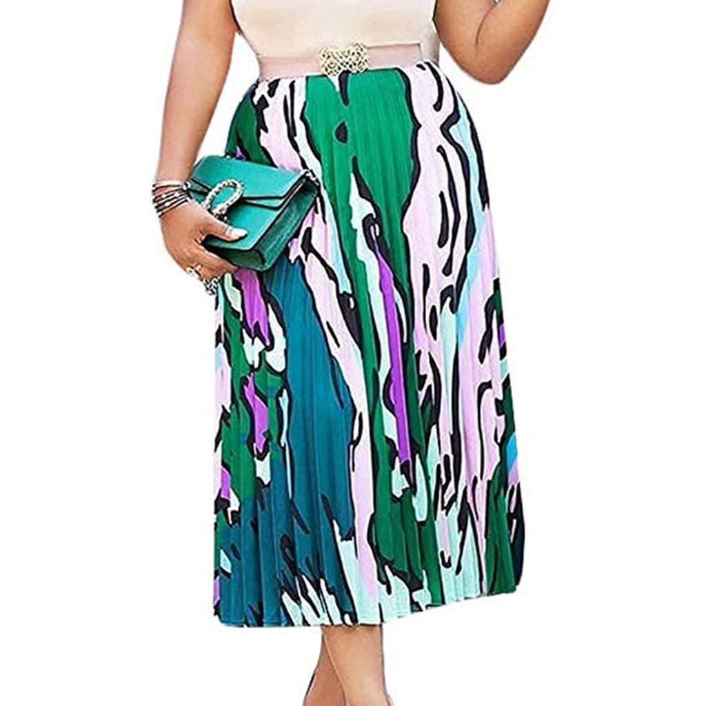 Women's Pleated Skirts, Caopixx Women Graffiti Printed Elastic Waist A-Line Swing Midi Skirt Dress Green