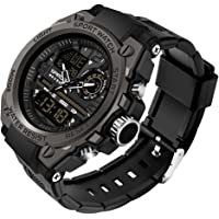 Men's Analog Sports Watch, LED Large Face Waterproof Wrist Watches, Dual Dial Digital Analog Watches for Men