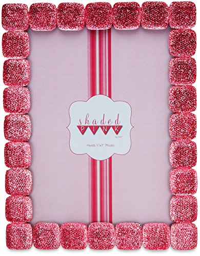 Pink Glass Photo Coaster - Shaded Pink by H2Z 27044 Shimmer Photo Frame, 6-1/2 by 8-1/2-Inch, Pink