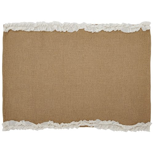 Natural Burlap & Creme Voile Ruffled Placemat Set of 2 12x18