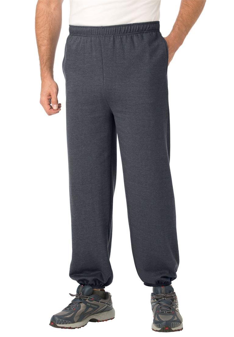 KingSize Men's Big & Tall Fleece Sweatpants With Elastic-Bottom, Heather