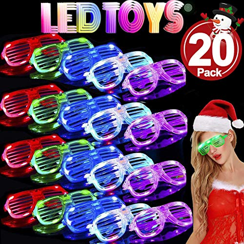 TURNMEON 20 Pack LED Glasses,5 Color Light Up Plastic Shutter Shades Glasses Shades Sunglasses for Adults Kids Glow in The Dark Party Favors (LED Glasses.)