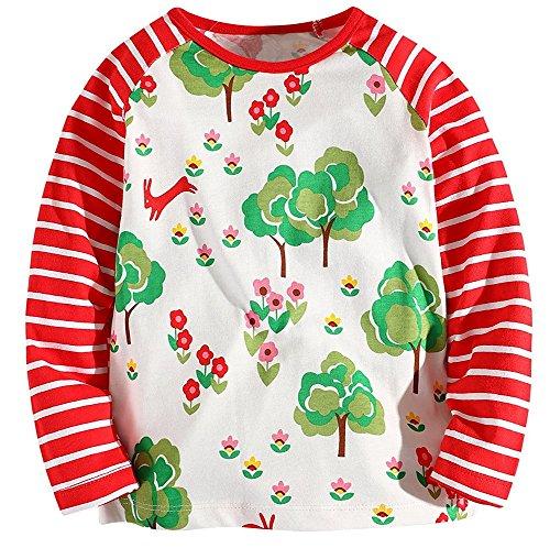 Vermeil Tree - Hongshilian Girls' Cotton Crewneck Solid Long Sleeve T-Shirt(Tree & Vermeil,3-4Yrs,)